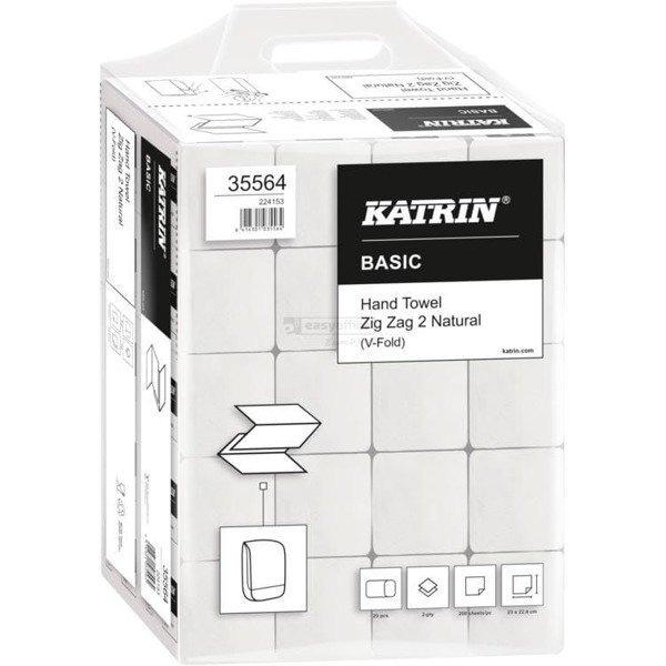 Ręcznik ZZ V-FOLD Katrin Basic biały 2w makulatura 16g/m2 23x22,4cm 35564/561667 4000skł ZIG ZAG 2, rek0420436