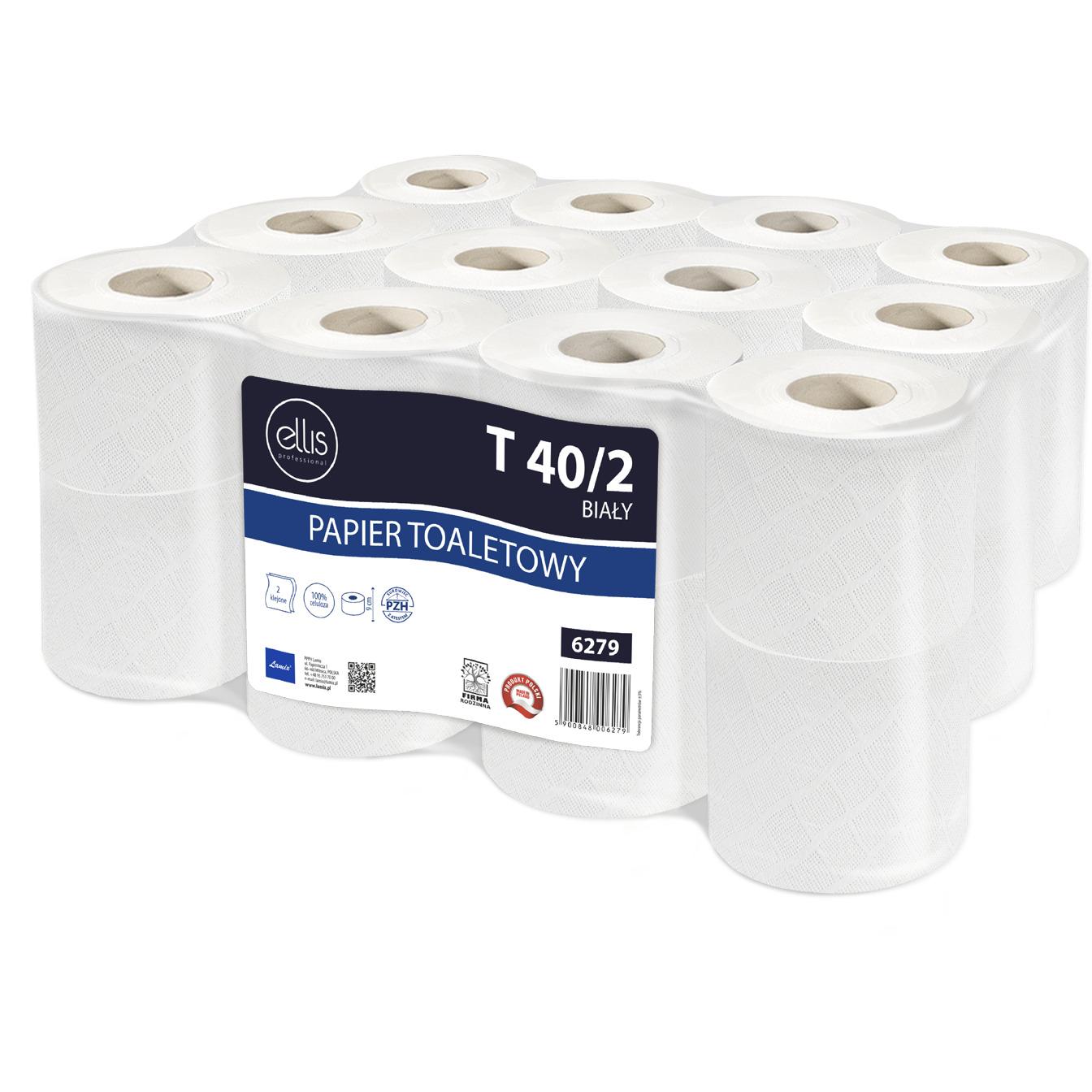 Papier toaletowy biały(24 rolki) 9cm*40m 2 warstwy 100% celuloza T 40/2 6279 ELLIS PROFESSIONAL, pa 0205036