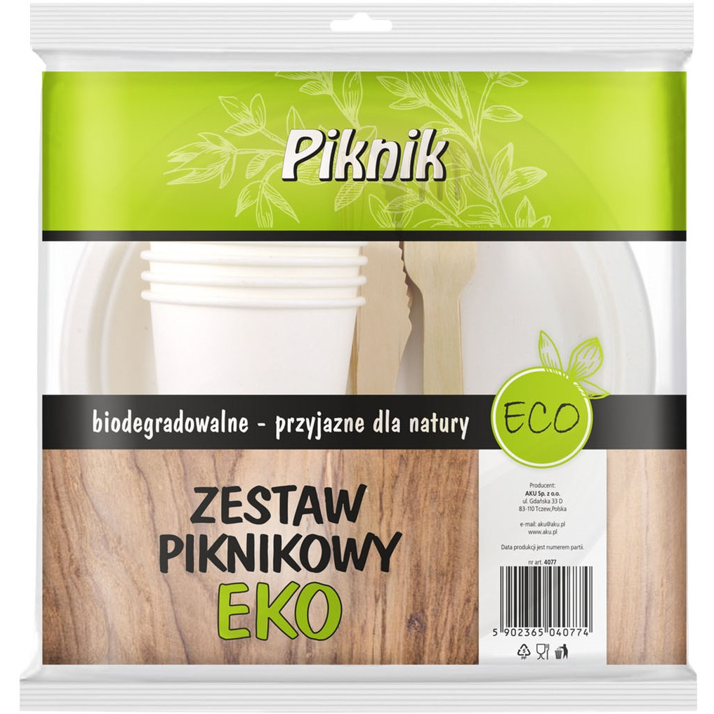 Zestaw PIKNIK 4xkubek/talerz/widelec/nóż, gs 0121336