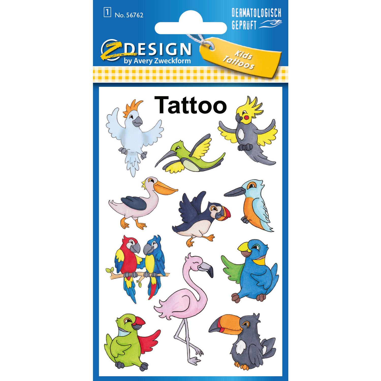 Naklejki tatuaże dla dzieci PTAKI 56762 Z-DESIGN KIDS TATTOO AVERY ZWECKFORM, na 0721246