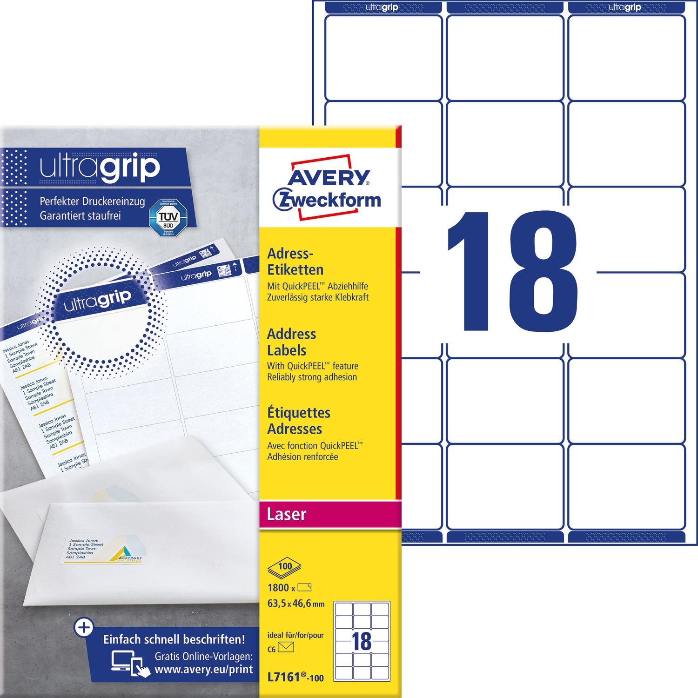 Etykiety A4 białe(100arkuszy)63,5*46,6mm L7161-100 (1800 etykietek) AVERY ZWECKFORM, et 1400246