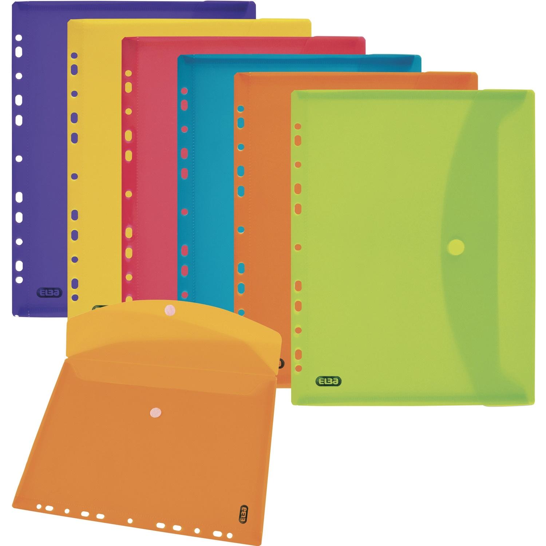Teczki kopertowe z perforacją kolorowe przez. 6szt ELBA 400099574, tek8516015