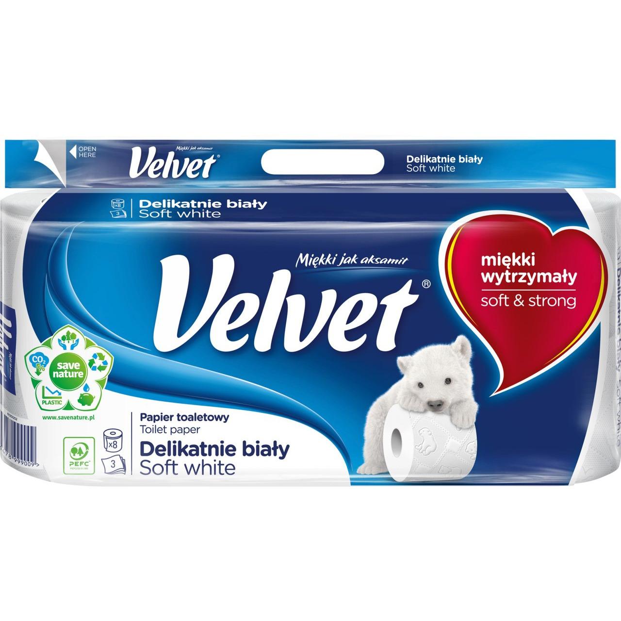 Papier toaletowy delikatnie biały(8szt.) 3 warstwy VELVET, pak0080036