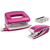 Zszywacz + dziurkacz LEITZ WOW mini 10 kartek różowy metalik 55612023