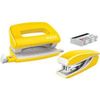 Zszywacz + dziurkacz LEITZ WOW mini 10 kartek żółty metalik 55612016