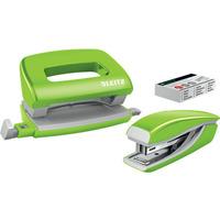 Zszywacz + dziurkacz LEITZ WOW mini 10 kartek zielony metalik 55612054