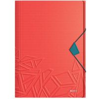 Teczka z gumką Leitz Urban Chic, PP, A4, grzbiet 15 mm, mieści 150 kartek, czerwona 46490020