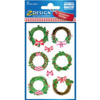 Papierowe naklejki o teksturze lnu - Świąteczne wianki Z-Design 52295 AVERY ZWECKFORM