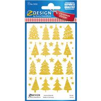 Naklejki foliowe z transparentnym tłem - złote choinki i gwiazdki Z-Design 54122 AVERY ZWECKFORM