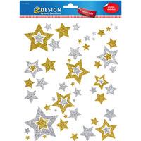 Naklejki foliowe Z-Design na okno - złote i srebrne gwiazdki 52952 AVERY ZWECKFORM
