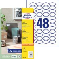 Etykiety owalne A4 10 ark. 40 x 20 mm białe trwałe 6241-10 AVERY ZWECKFORM