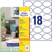 Etykiety owalne A4 10 ark. 63, 5 x 42, 3 mm białe trwałe 6242-10 AVERY ZWECKFORM