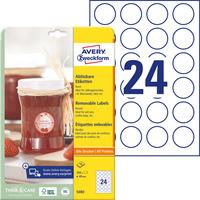 Usuwalne etykiety na przetwory A4 10 ark. 40 mm okrągłe białe 5080 AVERY ZWECKFORM