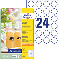 Usuwalne etykiety na przetwory A4 10 ark. 40, 8 x 40, 3 mm ośmiokątne białe 5082 AVERY ZWECKFORM