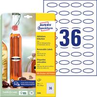 Usuwalne etykiety na przetwory A4 10 ark. 40 x 20 owalne białe 5086 AVERY ZWECKFORM
