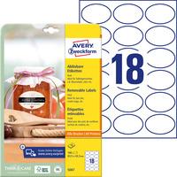 Usuwalne etykiety na przetwory A4 10 ark. 63, 5 x 42, 3 owalne białe 5087 AVERY ZWECKFORM