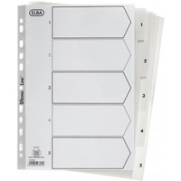 Przekładki numeryczne ELBA A4 1-5 białe PP 100204803