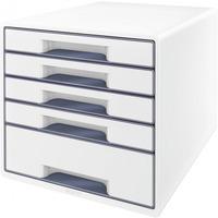 Pojemnik z 5 szufladami LEITZ WOW biało-szary 52142001