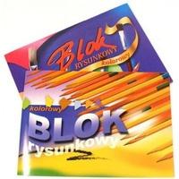 Blok rysunkowy A4 16k z kolorowymi kartkami KRESKA