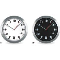 Zegar ścienny aluminiowy, 29, 5cm srebrny z czarną tarczą MPM E01.2482