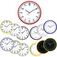 Zegar ścienny plastikowy, E01.2478.00 średnica 25, 5cm MPM czarny t.biała