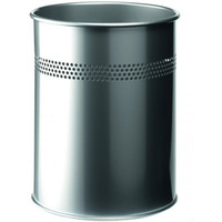 Kosz na śmieci 15L srebrny metalowy okrągły 330023 DURABLE