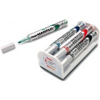 Marker do tablic PENTEL MAXIFLO komplet 4szt z gąbką MWL5S-4N