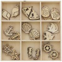 Ozdoby drewniane MORZE pudełko 45szt. 253001 Galeria Papieru