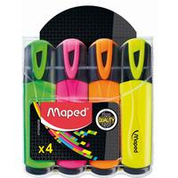 Zakreślacz FLUO PEPS mix kolorów 4szt etui z zawieszką 742547 MAPED