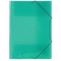 Teczka PP z gumką szeroka transparentna zielona TG-12-02 BIURFOL