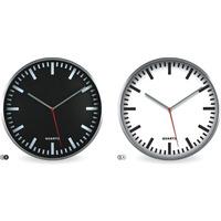 Zegar ścienny metalowy srebrny 29, 5cm z białą tarczą E01.2483 MPM