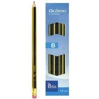 Ołówek z gumką twardość B (12) KV050-B TETIS