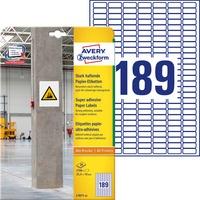 Etykiety pap. do trudnych powierzchni A4 25, 4x10mm 20 arkuszy AVERY ZWECKFORM L7871-20