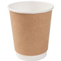 Kubki papierowe dwuwarstwowe biało-brązowe 300ml(25szt)DHD04880 100% bio