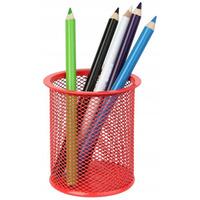 Kubek na długopisy DATURA/NATUNA siatka czerwony okrągły 100x90mm (wys.xśr.)