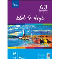 Blok do akryli A3 190g 15ark KB012-A3 TETIS