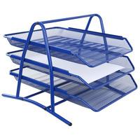 Półka na dokumenty NATUNA A4 siatka niebieska (3szt) 350x300x275mm