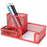 Przybornik na biurko DATURA/NATUNA siatka czerwony 204x104x100mm (3A)