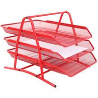 Półka na dokumenty NATUNA A4 siatka czerwona (3szt) 350x300x275mm