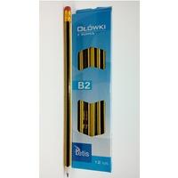 Ołówek z gumką twardość 2B (12) KV050-B2 TETIS