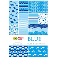 Blok z motywami BLUE A4 15ark. 30motyw, HAPPY COLOR HA3808 2030-B
