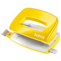 Dziurkacz Mini metalowy Leitz WOW, żółty, 10 lat gwarancji, 10 kartek 50601016