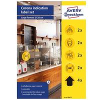 Zestaw etykiet ostrzegawczych - koronawirus fi20 gotowe wzory usuwalne 49415 AVERY ZWECKFORM