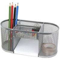 Przybornik na biurko DATURA/NATUNA siatka srebrny 200x85x90mm (5A)