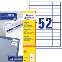 Etykieta A4 białe 48*21mm ULTRA GRIP 3650 (100arkuszy) AVERY ZWECKFORM